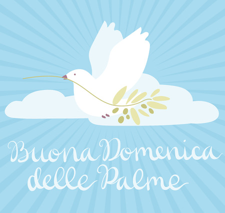 Buona Domenica delle Palme - Happy Palm Sunday - celebration card with handwritten lettering and white dove flying with olive branch. Hand drawn vector in minimal style. Foto de archivo - 118717752