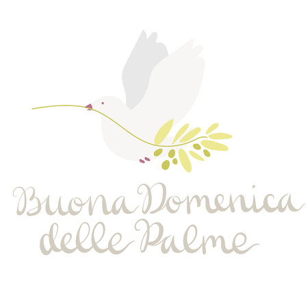 Buona Domenica delle Palme - Happy Palm Sunday - celebration card with handwritten lettering and white dove flying with olive branch. Hand drawn vector in minimal style.