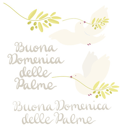 Buona Domenica delle Palme - Happy Palm Sunday - set with handwritten lettering and white dove flying with olive branch isolated on white. Hand drawn vector in minimal style.