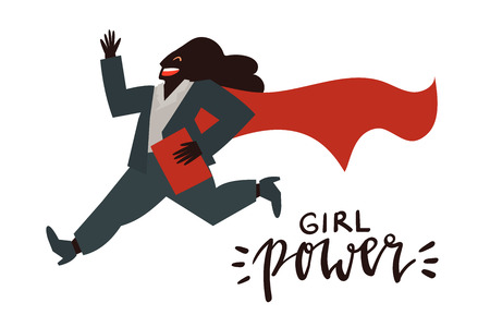 Girl power - celebration card template vector with handwritten lettering and hand drawn illustration of happy business woman in super hero cape running isolated on white.
