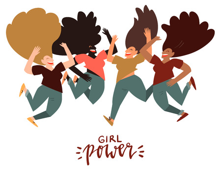 Girl power - celebration card template with handwritten lettering and hand drawn illustration of happy group of women jumping in air isolated on white. International women day.