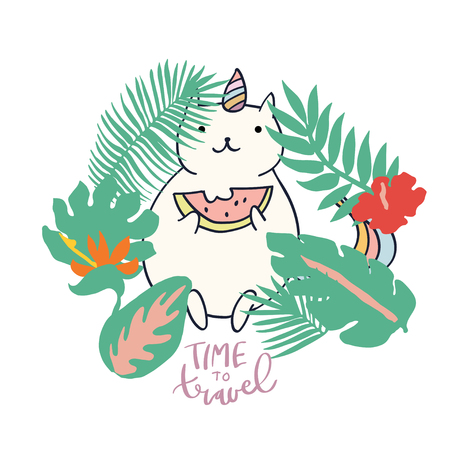 Cute sweet little Cat Unicorn sitting on rainbow with watermelon vector art in palm leaves. Naive childish nursery sticker hand drawn illustration. Graphic design tee print. Phrase Time to Travel. Illusztráció