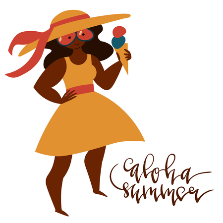 Hand drawn illustration of happy diverse cartoon women doing summer activites made in minimal flat style isolated on white.