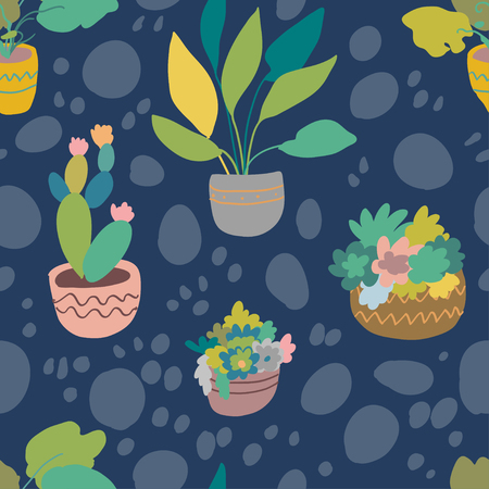 Urban interior house plants in decorative pots vector illustration. Hand drawn art succulents cacti ficus tropical plants in scandinavian minimal style. Tile pattern for print fabric.
