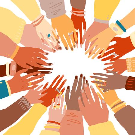 Illustration der Hände eines Volkes mit unterschiedlicher Hautfarbe, die sich zusammenhalten. Rassengleichheit, Feminismus, Toleranzkunst im minimalistischen Stil. Vektorgrafik