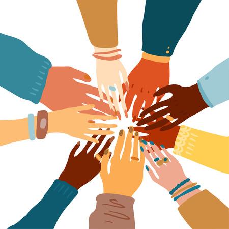 Ilustración de las manos de un pueblo con diferente color de piel juntos abrazados. Igualdad racial, feminismo, tolerancia, arte en estilo minimalista. Ilustración de vector
