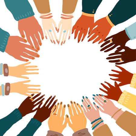 Illustration of a people's hands with different skin color together holding each other. Race equality, feminism, tolerance art in minimal style.