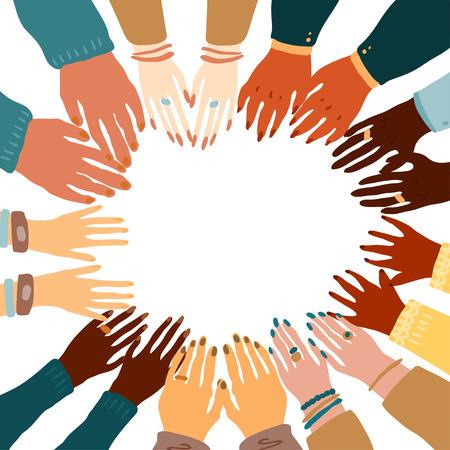 Ilustración de las manos de un pueblo con diferente color de piel juntos abrazados. Igualdad racial, feminismo, tolerancia, arte en estilo minimalista.