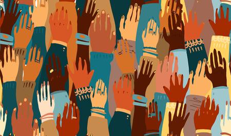 Illustration der Hände eines Volkes mit unterschiedlicher Hautfarbe zusammen. Rassengleichheit, Feminismus, Toleranzkunst im minimalistischen Stil. Nahtloses Fliesenmuster. Vektorgrafik