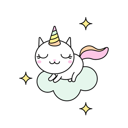 Cute kawaii vector illustration of happy cartoon rainbow cat unicorn stretching on the cloud isolated on white. Illustration