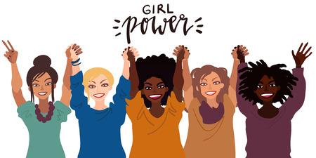 Grupo de mujeres sonrientes felices de diferente raza juntas levantando las manos. Ilustración de estilo plano aislado en blanco. Concepto de poder femenino de tolerancia a la diversidad feminista.