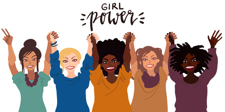 Group of happy smiling women of different race together holding hands up. Flat style illustration isolated on white. Feminism diversity tolerance girl power concept. Illustration