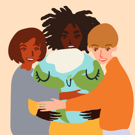 Happy cute planet earth being hug by diverse people. Global warming climate change concept vector illustration isolated on white. Ilustração