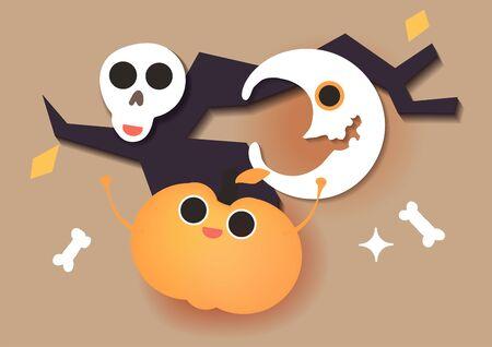 Happy Halloween celebration card. Hand drawn vector illustration cartoon cute kawaii character face, old tree, pumpkin, moon, skull. Minimal style art.