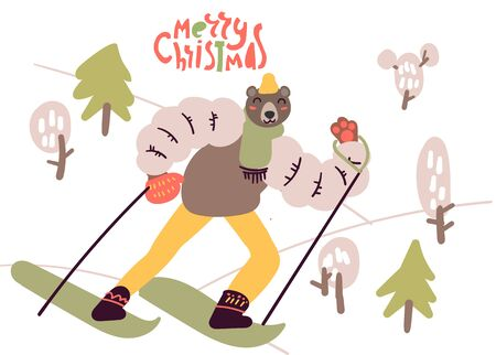 Flat style cartoon cute character bear dressed in warm clothes skiing in the mountains. Outdoor winter activity, Merry Christmas card. Hand drawn vector illustration.