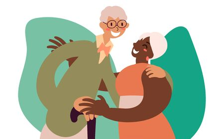 Flat style cartoon cute character, african american and caucasian elderly couple of people friends family spouse hug. Using cane. Hand drawn vector illustration.