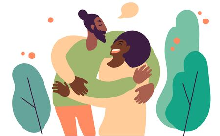 Flat style cartoon cute character, african american couple people hug. Hand drawn vector illustration. Ilustracja