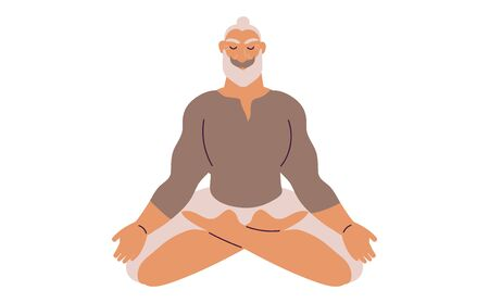 Flat style cartoon cute character, middle aged elder man doing meditation in yoga pose. Healthcare, wellbeing, exercise, stress relief concept. Minimal vector illustration.