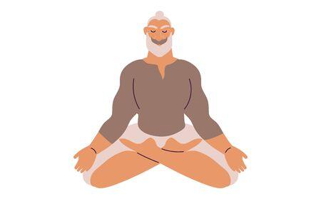 Personnage mignon de dessin animé de style plat, homme âgé d'âge moyen faisant de la méditation dans une pose de yoga. Soins de santé, bien-être, exercice, concept de soulagement du stress. Illustration vectorielle minimale. Vecteurs