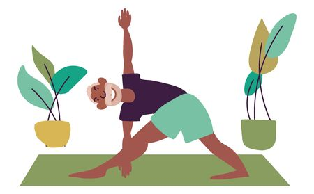Flat style cartoon cute character, elderly middle aged man doing yoga on the mat surrounded by home plants. Healthcare, wellbeing, exercise concept. Minimalist vector illustration. Illustration