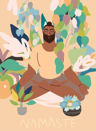 Flat style cartoon cute character, african american man doing meditation in yoga pose at home surrounded by plants. Healthcare, wellbeing, exercise, stress relief concept. Minimal vector illustration. Иллюстрация