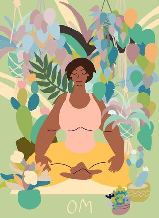Flat style cartoon cute character, african american woman doing meditation in yoga pose at home surrounded by plants. Healthcare, wellbeing, exercise, stress relief concept. Minimal vector illustration. Иллюстрация