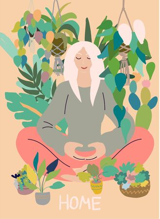Flat style cartoon cute character, woman doing meditation in yoga pose at home surrounded by plants. Healthcare, wellbeing, exercise, stress relief concept. Minimal vector illustration.