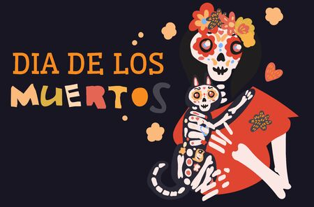 Dia de los muertos celebration card with cute cartoon female skeleton woman holding cat, flowers hand drawn in traditional style. Text translation: Day of the Dead. Иллюстрация