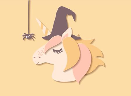 Flat paper cut style cartoon cute character unicorn in witch hat. Hand drawn vector illustration, Happy Halloween card template.