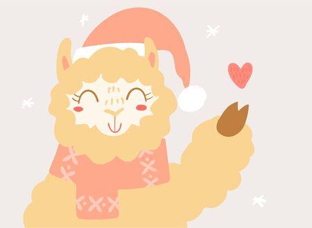 Flat scandinavian style cartoon cute character llama in cute scarf and Santa hat. Minimal vector illustration, merry Christmas card. Иллюстрация