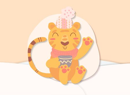 Flat scandinavian style cartoon cute character tiger with mug of tea surrounded by winter landscape. Minimal vector illustration, merry Christmas card.
