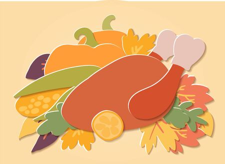 Flat paper cut style turkey, pumpkin, sunflower, corn, cranberry and autumn maple leafs background. Hand drawn vector illustration, Happy Thanksgiving card template.