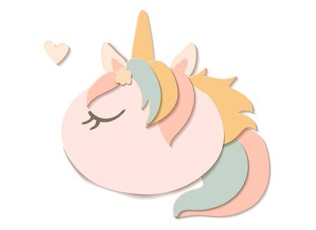 Flat paper cut style pumpkin dressed as unicorn. Hand drawn vector illustration. Cartoon cute character Иллюстрация