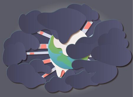 Grobal warming, climate change concept illustration template. Earth planet surrouned by pollution, ice melting. Paper cut flat style vector art.