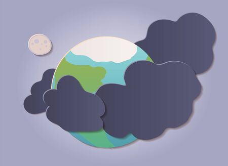 Global warming, climate change concept illustration template. Earth planet surrounded by pollution. Paper cut flat style vector art.