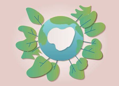 Grobal warming, climate change concept illustration template. Earth planet surrouned by trees growing. Paper cut flat style vector art.
