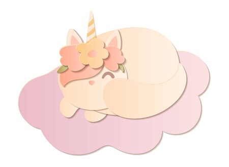 Cute hand drawn cat unicorn in flower wreath sleeping on cloud. Paper cut vector art template. Иллюстрация