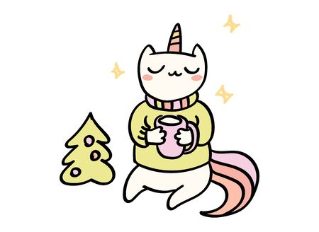 Cute hand drawn vector doodle of a cat unicorn in sweater near Christmas tree. Comics style art, t shirt print.