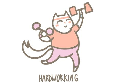 Cute cartoon character kitty doing exercise, motivational funny vector illustration isolated on white. Иллюстрация