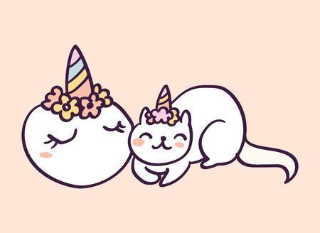 Cute cartoon character cat unicorn sleeping near pumpkin, funny vector illustration. T-shirt print graphic art. Иллюстрация