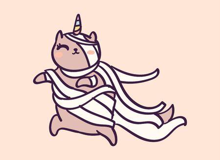 Cute cartoon character cat unicorn dressed as mummy for Halloween, funny vector illustration. T-shirt print graphic art. Иллюстрация