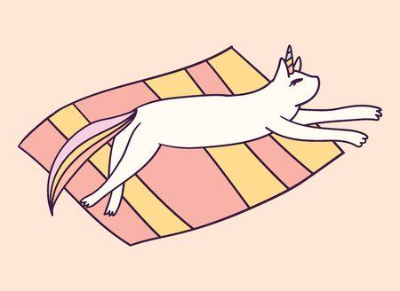 Cute cartoon character cat unicorn, funny vector illustration. T-shirt print graphic art.