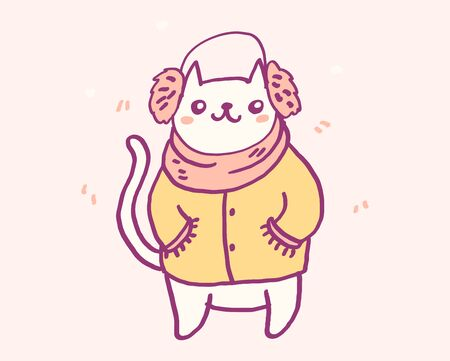 Cute cartoon character cat in warm winter clothes, funny vector illustration. Tee card print graphic art.