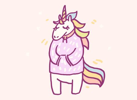 Cute cartoon character unicorn in warm winter clothes, funny vector illustration. Tee card print graphic art.