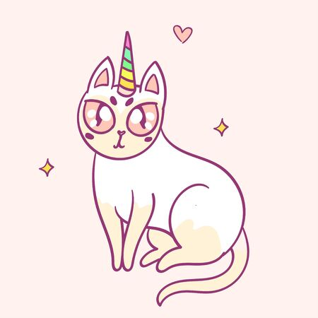 Cute cartoon character cat unicorn, funny magical hand drawn vector illustration. Tee, card print graphic art.