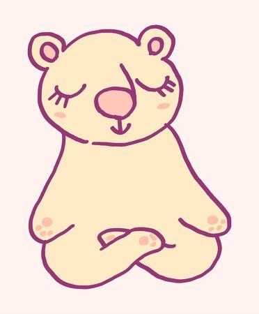 Cute cartoon character bear doing meditation, funny vector illustration. Tee card print graphic art. Иллюстрация