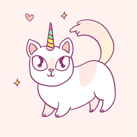 Cute cartoon character cat unicorn, funny magical hand drawn vector illustration. Tee, card print graphic art.