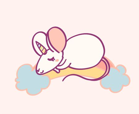 Cute cartoon character mouse unicorn, funny magical hand drawn vector illustration. Tee, card print graphic art. Ilustração