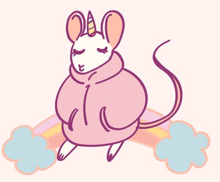 Cute cartoon character mouse unicorn, funny magical hand drawn vector illustration. Tee, card print graphic art. Иллюстрация