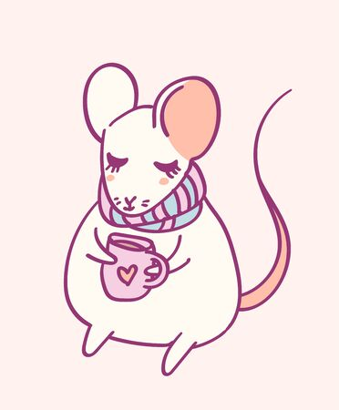 Cute cartoon character mouse, funny magical hand drawn vector illustration. Tee, card print graphic art.